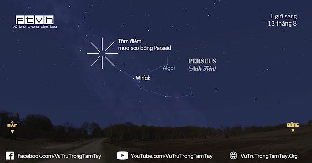 [Ftvh] Bầu trời hướng đông bắclúc 1 giờ sáng ngày 13 tháng 8. Tâm điểm mưa sao băng Perseid đã xuất hiện khá cao trên bầu trời, thuận lợi cho việc quan sát sao băng của bạn. Bạn hãy bắt đầu quan sát mưa sao băng Perseid từ 12 giờ đêm ngày 13/8.