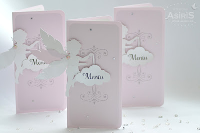 Meniu Botez din carton roz cu Ingeras roz, norisor si stelute argintii