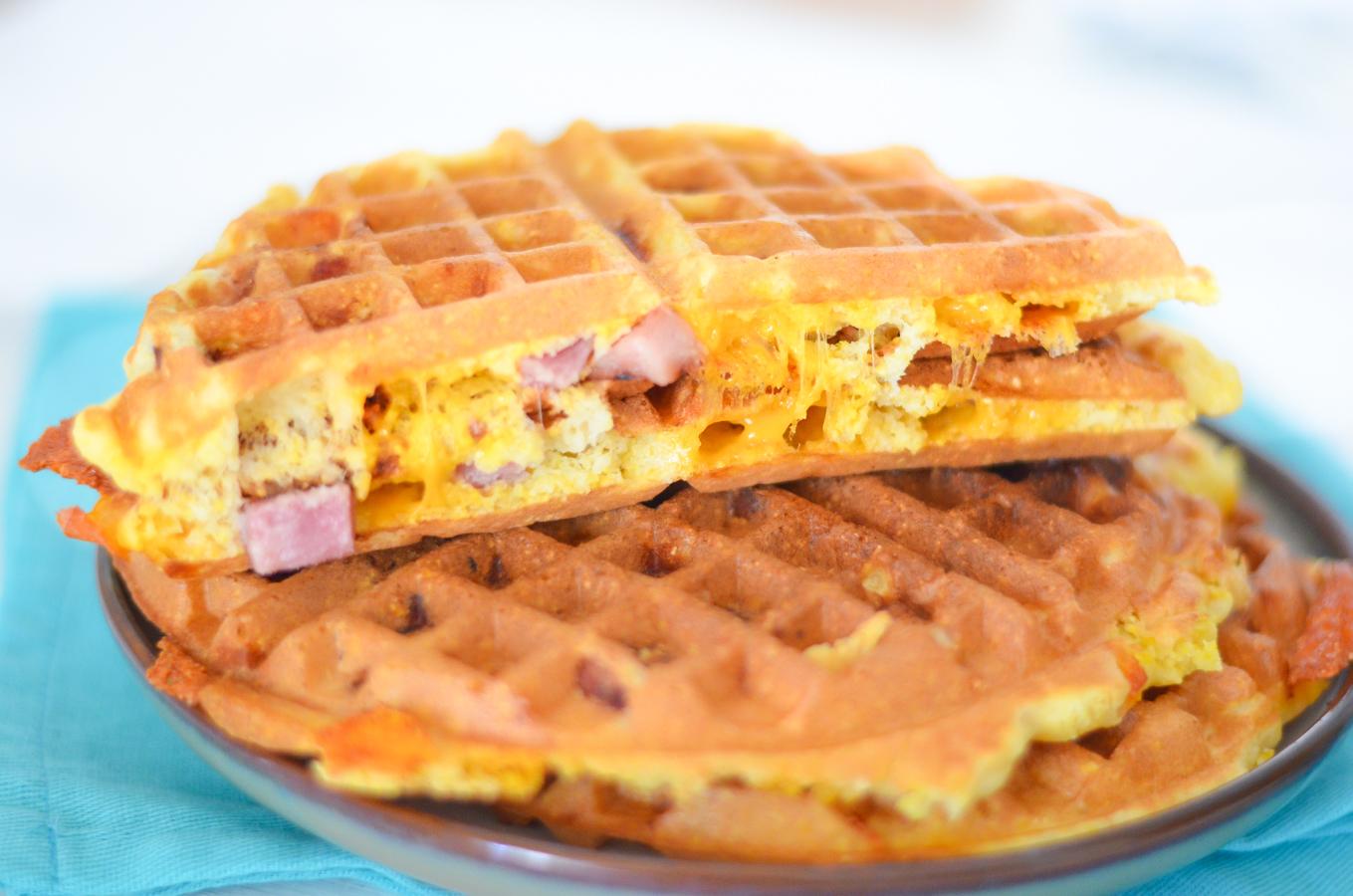 Ham + Cheese Waffles | Leftover Ham Recipe for Breakfast + Dinner ...