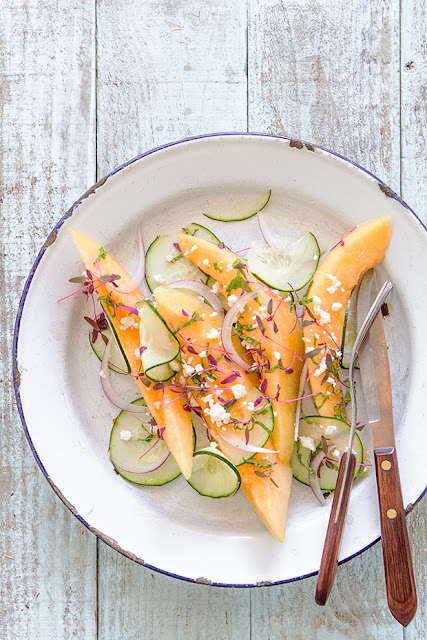 Cantaloupe and Cucumber Feta Salad