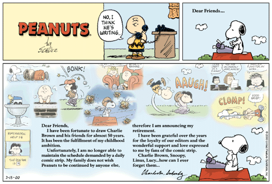 Peanuts' last strip ever