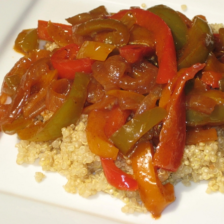 peppers with seasoning over quinoa