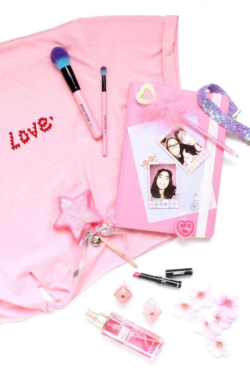 pastel pink flatlay