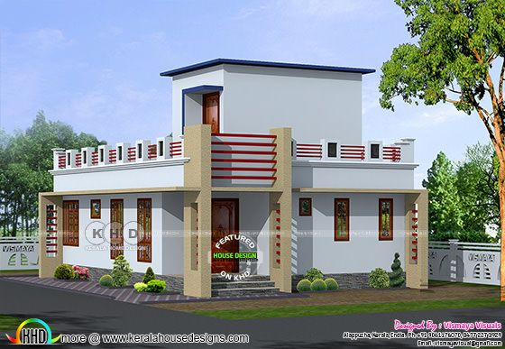 800 sq-ft small Kerala home plan