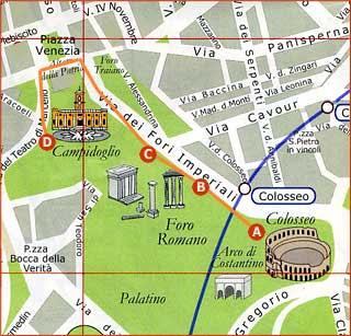 Mapa Coliseo Foro Romano Palatino