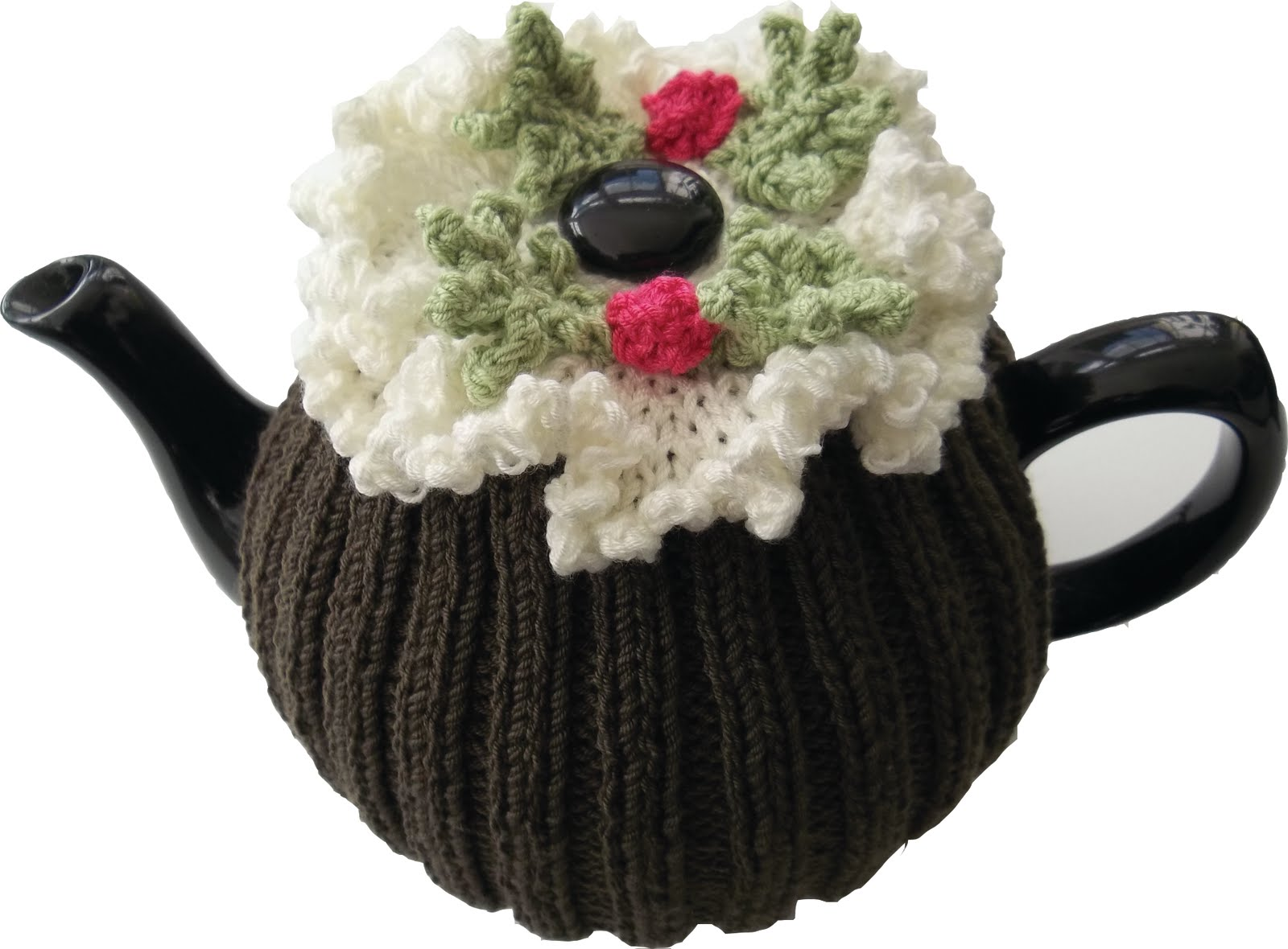 Christmas pudding tea cosy and pin cushion knitting pattern dt1010fo