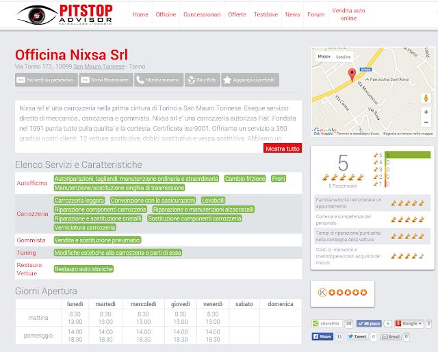 Carrozzeria Nixsa ha una sua scheda su Pitstop Advisor