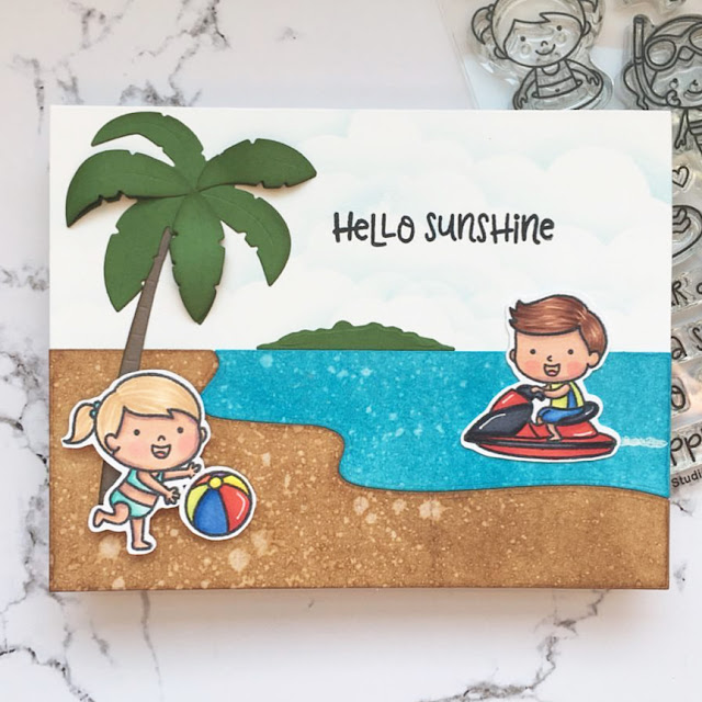 Sunny Studio Stamps: Beach Babies Summer Customer Card by Kathy Straw