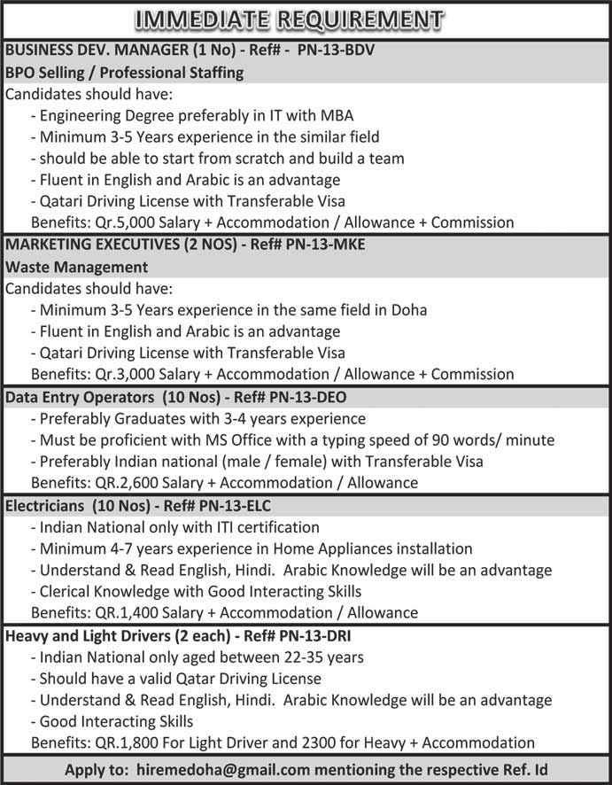 national company needs the following employees an operation manager to