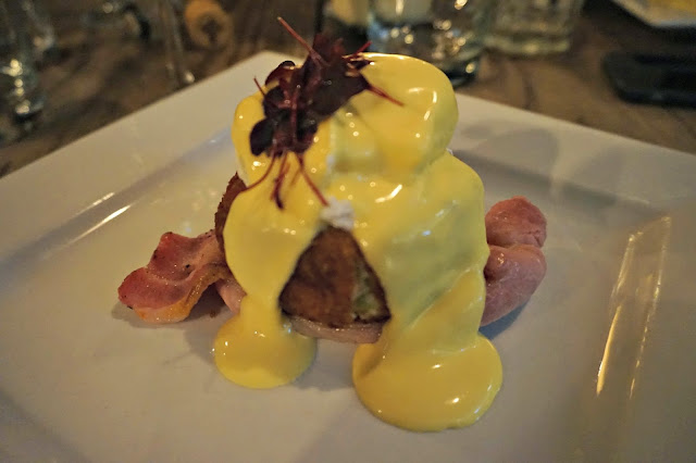 Plate with bubble and squeak and hollandaise sauce