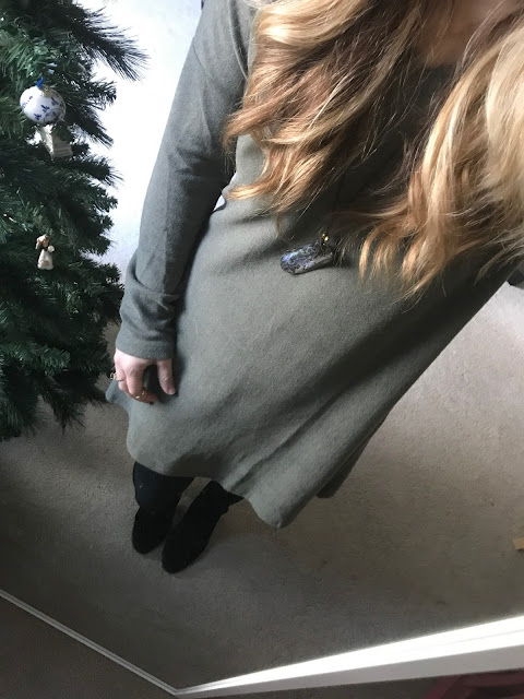 Green Sweater from Zulily. Full Outfit. Black tights and booties.