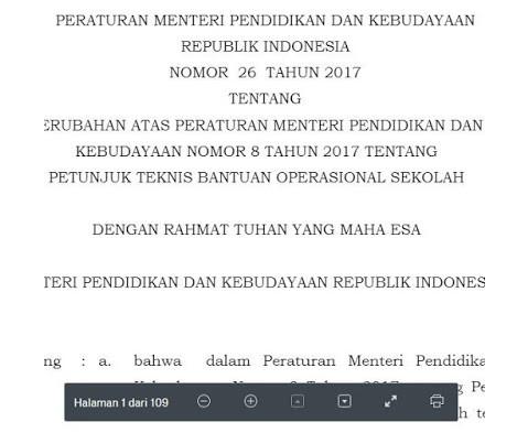 Juknis BOS Permendikbud 26 Tahun 2017