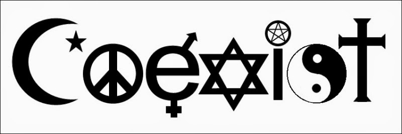 Coexist: Islam Peace Astrology Judiasm, Pagan, Buddhism, Christianity