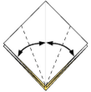 Bước 5: Gấp vào mở ra tại vị trí đường đứt để tạo nếp gấp