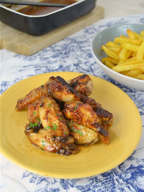 Alitas de pollo al horno con miel y soja