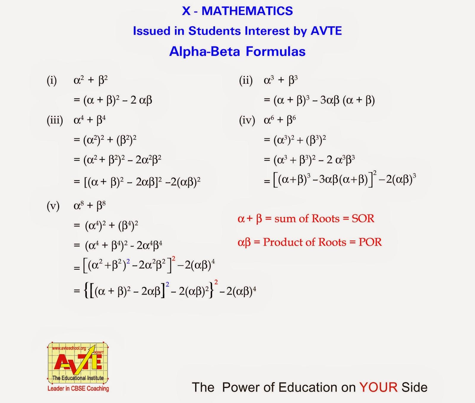 Alpha Beta Formulas For Maths