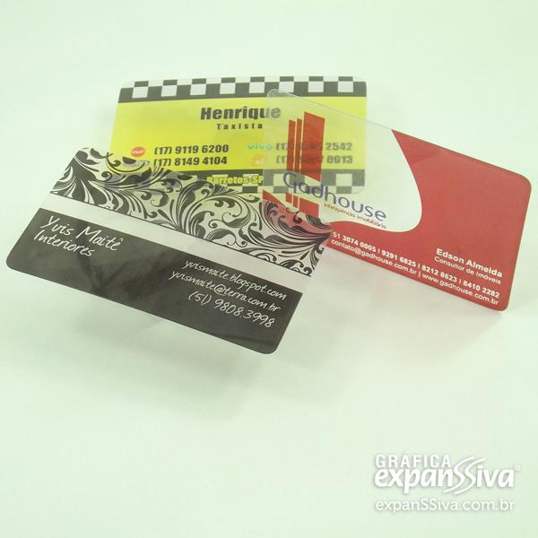 Cartão de Visita de PVC Transparente Translucido
