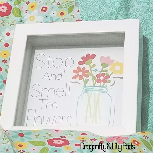 Stop and Smell the Flowers 3D Art project made quickly with a Cricut Maker and a Printer.