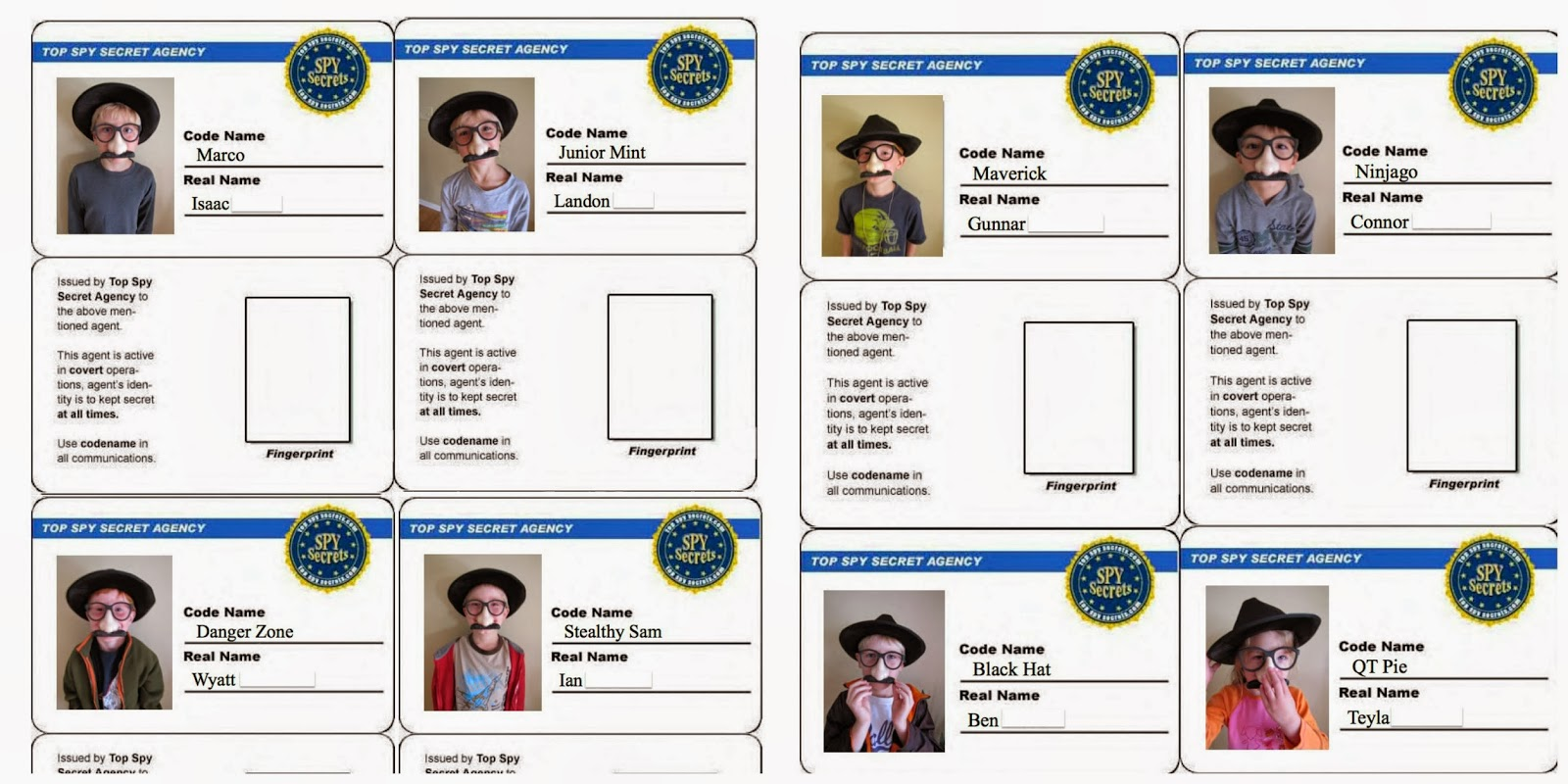 We also sent each boy home with his own set of gag glasses for Spy id card template