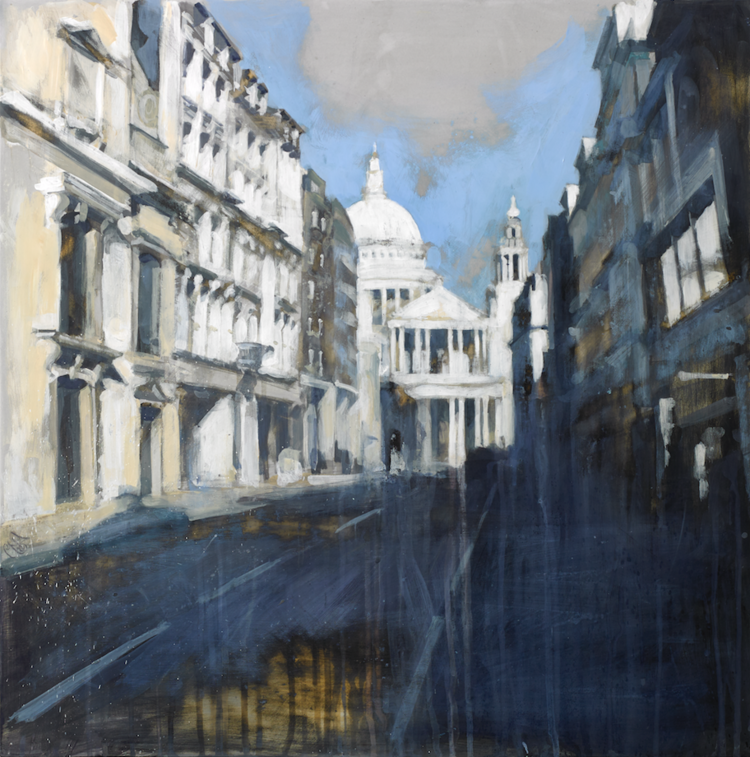 10-St-Pauls-from-Ludgate-Hill-Camilla-Dowse-Soothing-Architectural-Acrylic-Paintings-www-designstack-co