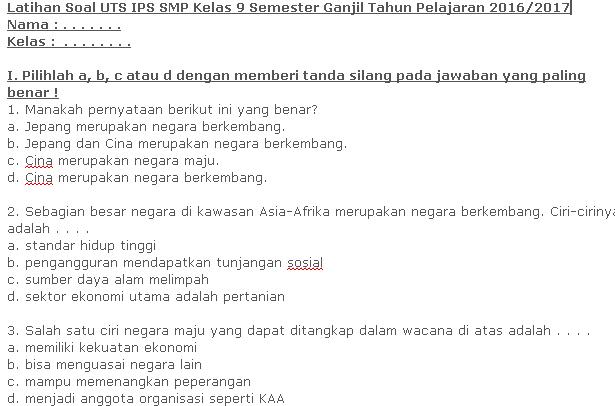 Download Soal UTS IPS SMP Kelas 9 Semester Ganjil