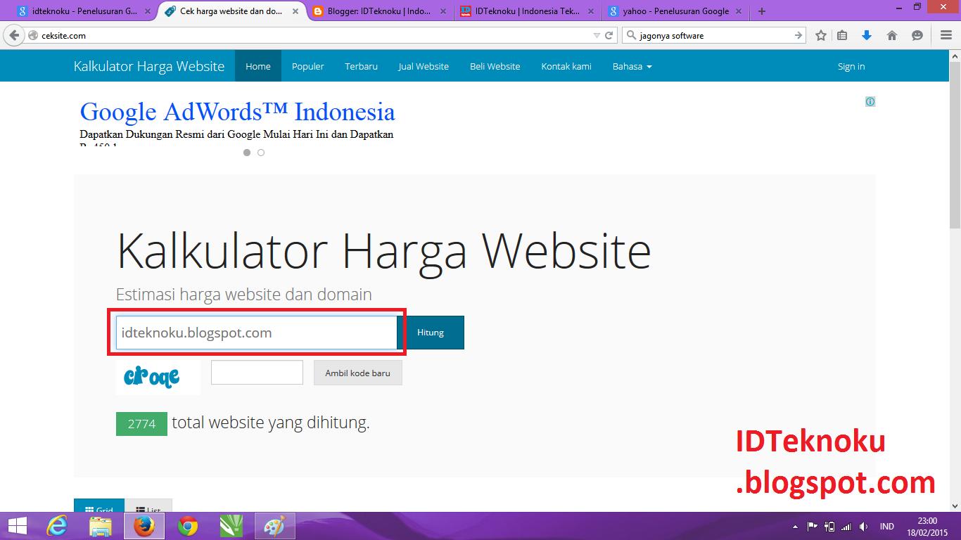 Cek Harga Website Sekarang tanpa Registrasi