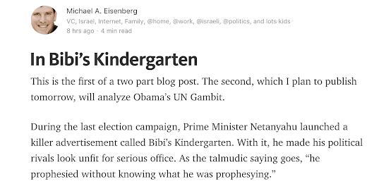 Follow the Link to my blog post on Medium on Obama/Bibi UN Resolution