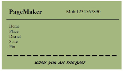 General Coding Pagemaker Making Simple Visiting Card Step By Step