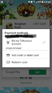 Pembayaran Pembelian Aplikasi di Playstore Dengan Pulsa