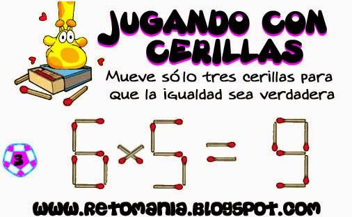 Jugando con cerillas, Jugando con fósforos, Jugando con palillos, Juego de lógica, retos matemáticos, problemas matemáticos, desafíos matemáticos