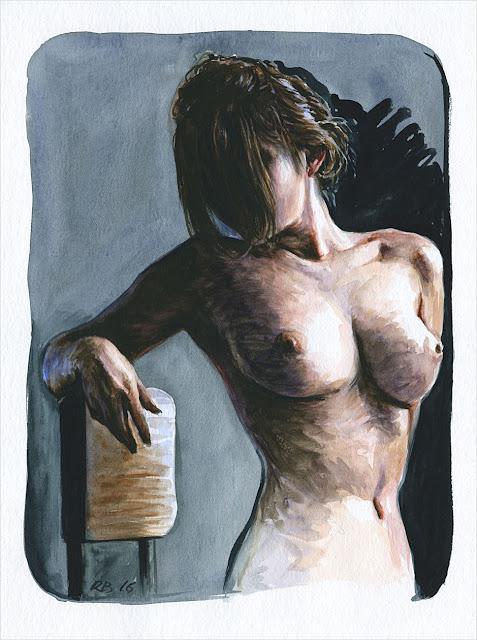 René Bui - Etude de nu à l'aquarelle #160186