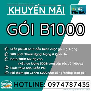 B1000 - GÓI KHUYẾN MÃI TRẢ SAU VIETTEL B1000