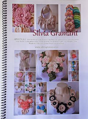 Apostila de crochê ensinado como fazer colar de crochê com flores, colar afrodite