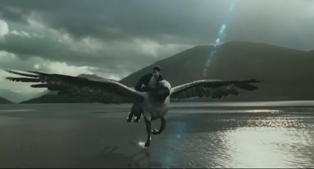 Harry potter cưỡi bằng mã bay lượn trên bầu trời