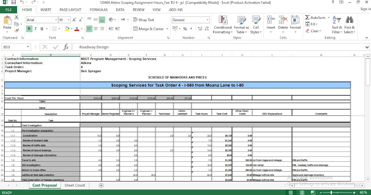 standard cost proposal excel template