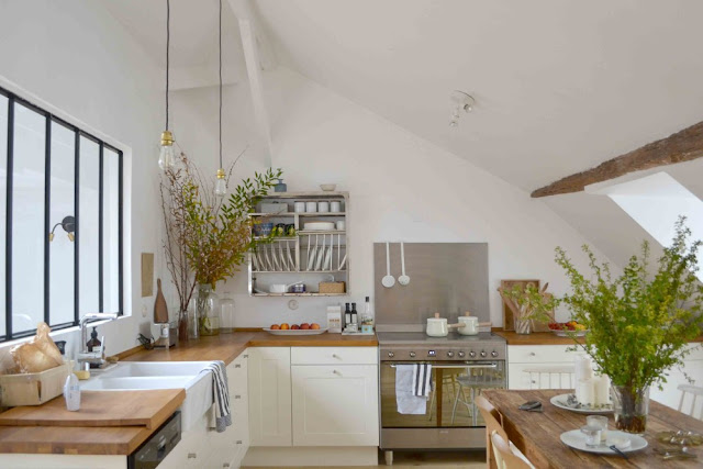 Minimal modern farmhouse kitchen in 1650 Marais Paris home of Lucille Gauthier-Braud