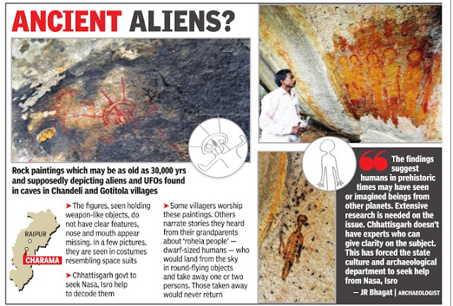 Times Of India E Paper covered the story of UFO and Aliens in cave paintings in Indian cave.