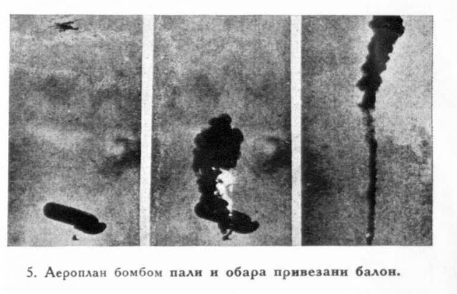 An aeroplane ignites a captive balloon with a bomb and throws it down