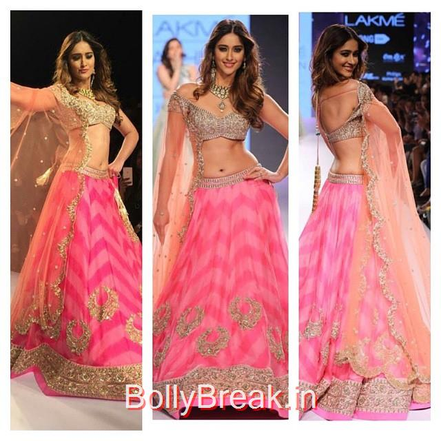 ileana d cruz walked the ramp wearing pink, gold and orange embellished lehanga by @anushreereddyofficial ileana dcruz , anus r ree reddy , lehan ga , indian wear , indian designer , runway , hair and makeup , lookbook , look of theda y , street chic , streets tyl e , bollywood , bollywood actress , indian fashion news ,, ILeana DCruz in Anushree Reddy Lehenga Choli at Lakme Fashion Week