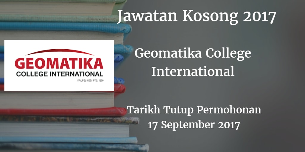 Jawatan Kosong Geomatika College International 17 September 2017