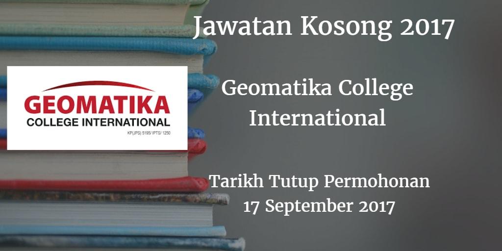 Jawatan Kosong Geomatika College International 17 September 2017