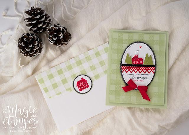 Carte de Noël Stampin' Up! confectionnée avec le jeu d'étampes Ensemble pour Noël