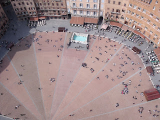 Siena's Piazza del Campo viewed from the air