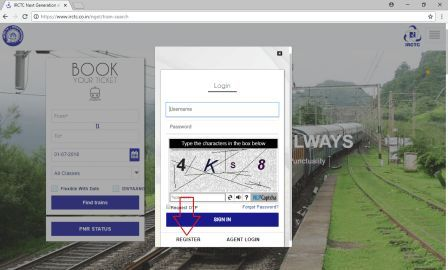 Picture of IRCTC login box with registration link