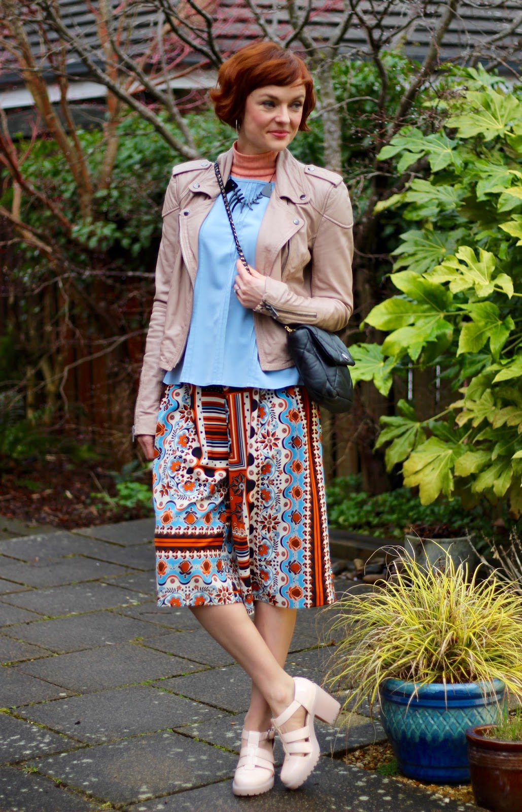 Soft Blue top, Nude Biker Jacket, Vagabond sandals | Spring Culottes Outfit, over 40 | Fake Fabulous