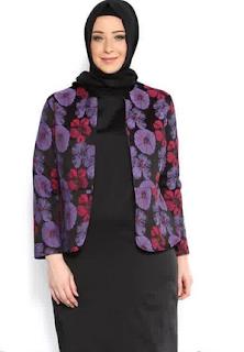 Gambar Model Baju Muslim Wanita Gemuk Motif Bunga Trend Terbaru