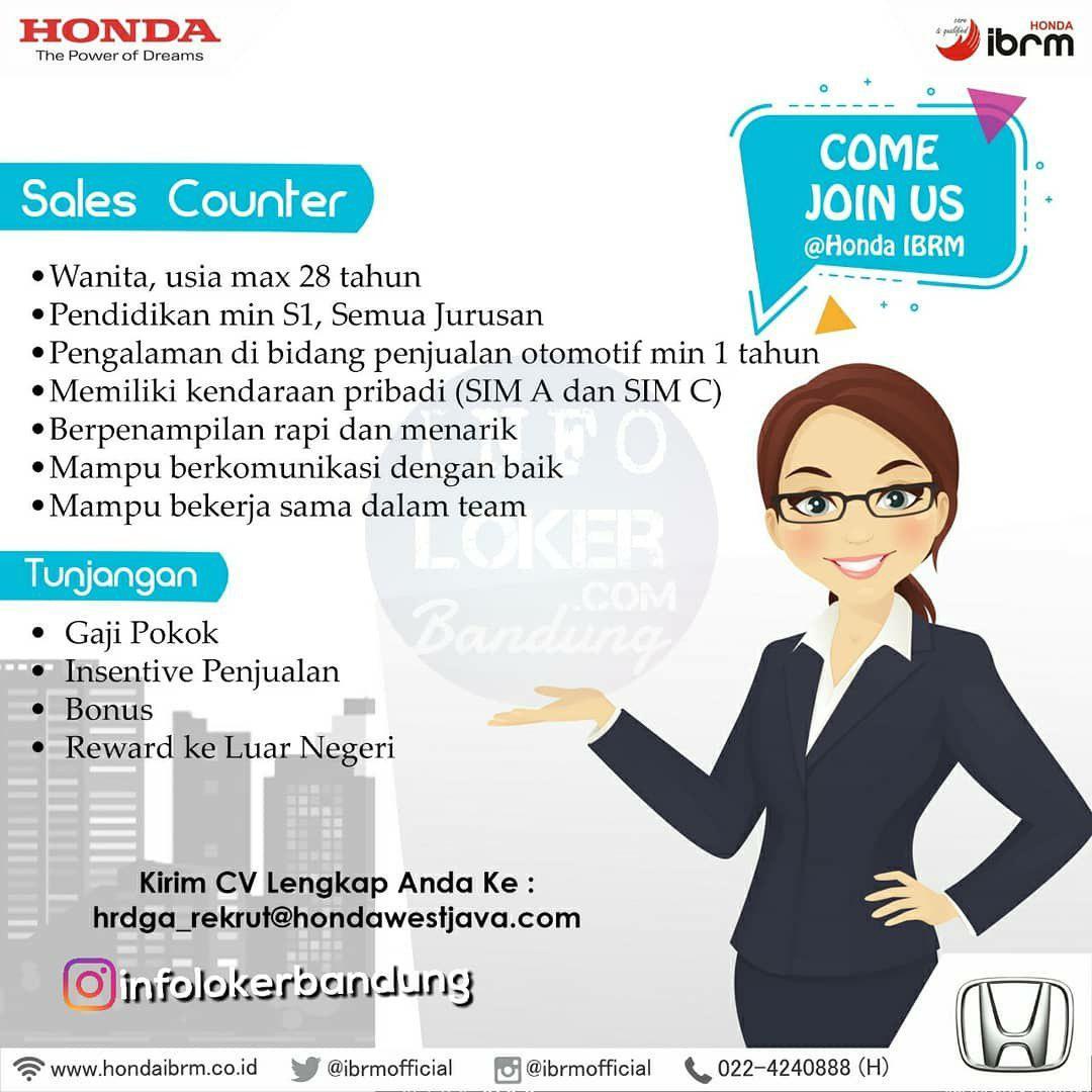 Lowongan Kerja Honda IBRM Bandung Mei 2018