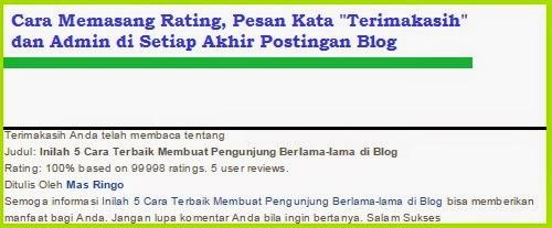 """Cara Memasang Rating, Pesan Kata """"Terimakasih"""" dan Admin di Setiap Akhir Postingan Blog"""