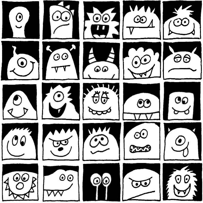 Monster im Quadrat - schwarzweiß