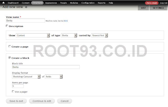 proses pembuatan slider dengan views bootstrap 1